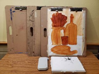 lot of 3 large Sketching Boards and 2 Paint Trays
