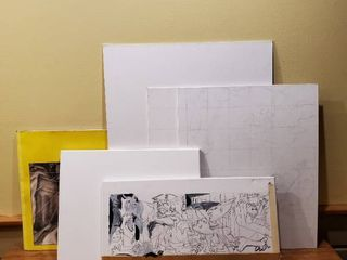 lot of 5 Canvas   large Sketch Book and Creative Workshop Watercolor and Acrylic Book