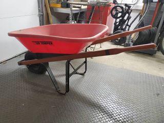 Red True Temper Wheel Barrow with Flat Wheel