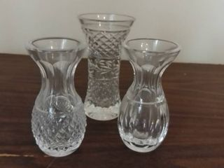 lot of 3 Small Etched Glass Vases