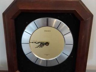 Seiko Dark Brown Wooden Quartz Clock