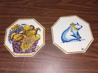 lot of 2 Hand Handpainted Ceramic Coasters