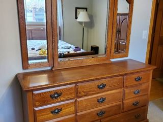Dovetail 11 Drawer  Brass Handle Dresser with Top Folding Mirror