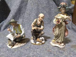 3 Porcelain Statues