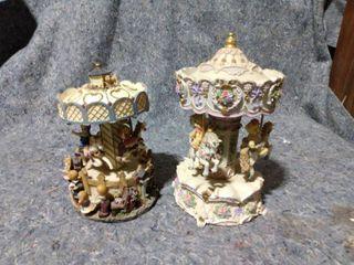 2 Vintage Carousel Music Boxes