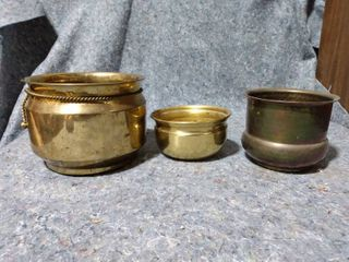 3 Brass Buckets
