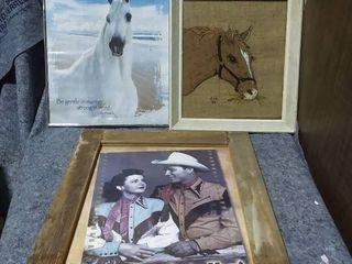 3 Framed Western Themed Art Prints