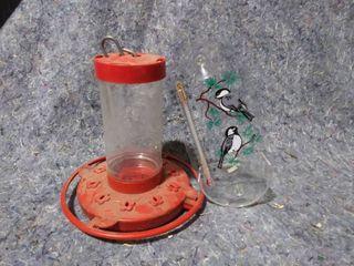 Humming Bird Feeder and Bird Feeder Outdoor Thermometer