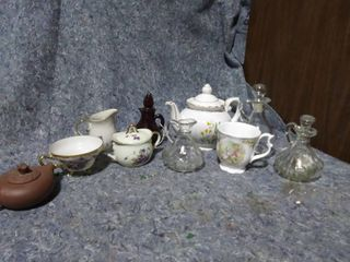 lot of Decanters and Tea pots