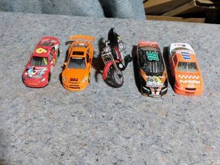 diecast race cars and toy motorcycle