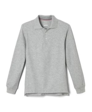 French Toast Boys  Big Boys  long Sleeve Pique Polo Shirt  Grey  X large 14 16