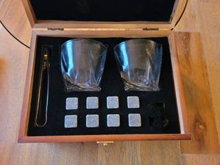 Whiskey Stones and Whiskey Glass Gift Boxed Set  8 Granite Chilling Whisky Rocks  2 Glasses in Wooden Box  Great Gift for Father s Day  Dad s Birthday or Anytime For Dad  Plus 2 Free Coasters