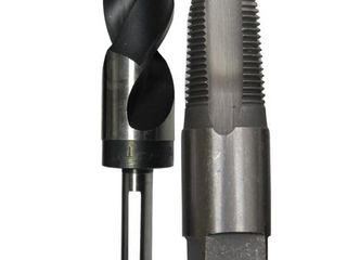 Drill America 3 8  Carbon Steel NPT Pipe Tap and 37 64  High Speed Steel Drill Bit Set  POU Series