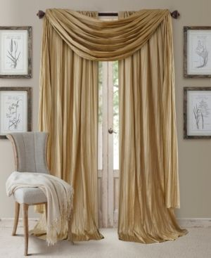Elrene Home Fashions Athena Faux Silk light Filtering Window Curtain Panel Set and Scarf Valance  52  x 95  Gold  52 x95