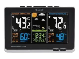 la Crosse Technology 308 1414B INT  Black 308 1414B Wireless Atomic Digital Color Forecast Station with Alerts