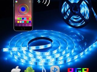 AlED lIGHT Bluetooth lED Strip lights  5050 16 4 ft 5 Meter 150 lED Stripes lights Smart Phone Controlled Waterproof RGB lED Band light for Home Outdoor Decoration