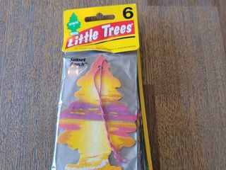 little Trees Car Air Freshener   Hanging Tree Provides long lasting Scent for Auto or Home   Sunset Beach 6 Packs  4 Count