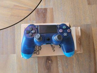 Game Controller for PS4 Wireless Controller for Playstation 4 with Dual Vibration Game Joystick  Transparent Blue