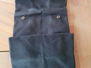lunch Bag  lunch Box  large lined Waxed Canvas Roll Top Tote Bag  leather Handle and Brass Snap Closure   Black Bag   by In The Bag