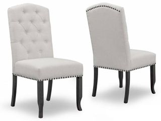 Aleeya Fabric Dining Chair w  Tufted Buttons   Set of 2