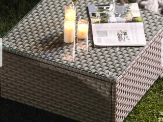 COSIEST Outdoor Furniture Wicker Glass Top Coffee Table