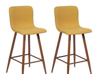 Furniture R Mid Century Modern Upholstered Bar Chair Scargill Bar Yellow  Set of 2  Retail 232 99