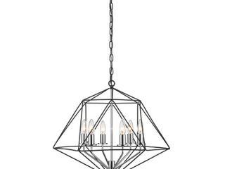 Geo 6 light Chandelier in Matte Black   Chrome  Retail 254 40