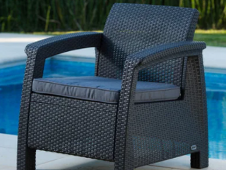 Quintana Charcoal All Weather Outdoor Patio Armchair with Cushions by Havenside Home  Retail 114 69
