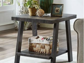 Roundhill Athens Contemporary Replicated Wood Shelf End Table in Charcoal Finish