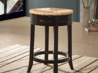 The Curated Nomad Aragon Rush Seat Swivel 24 inch Counter Stool   N A  Retail 103 49