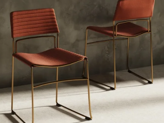 Modrest Swain Modern Salmon Fabric   Gold Dining Chair  Set of 2  Retail 179 99