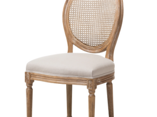 Adelia French Vintage Cottage Weathered Oak Wood Finish and Fabric Upholstered Dining Side Chair with Round Cane Back   Beige   Baxton Studio