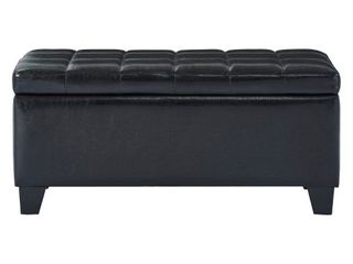 Faux leather Storage Ottoman  Black
