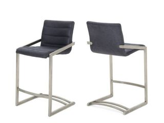 Arias 26 in  Microfiber Counter Stool by Christopher Knight Home  Set of 2  Retail 346 99