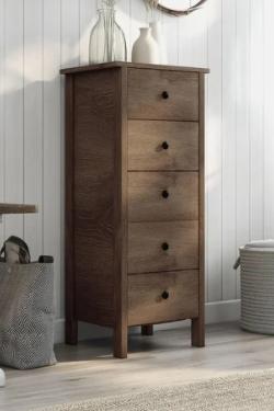 Carbon loft Mulgrew Distressed Walnut 5 drawer Vertical Chest   Retail 182 00