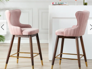 leland Fabric Upholstered Counter Height Wingback Stools  Set of 2  Retail 235 49