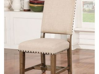 Furniture of America Dice Rustic Oak Solid Wood Side Chairs  Set of 2  Retail 277 49
