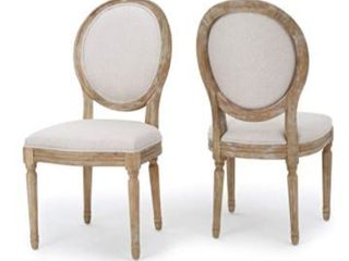 Pair of Phinnaeus French Country Fabric Dining Chairs by Christopher Knight Home  Retail 251 99