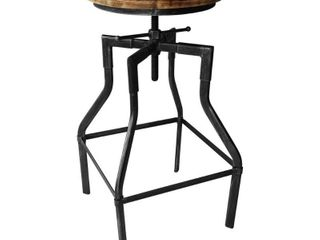 Amelia Industrial Barstool in Silver Brushed Gray with Rustic Ash  Retail 133 99