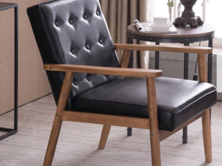 Retro Modern Wooden Accent Chair Club Chair Faux leather lounge Chair  Retail 159 99