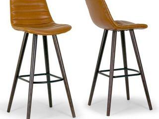 Set of 2 Alden Caramel Brown Bar Stool with Beech legs  Retail 242 49