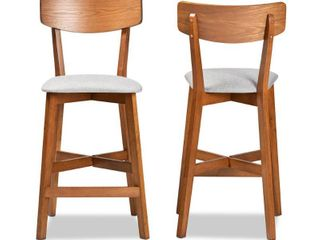 Baxton Studio Cameron 26 8 in  Grey and Walnut Brown Counter Stool  Set of 2