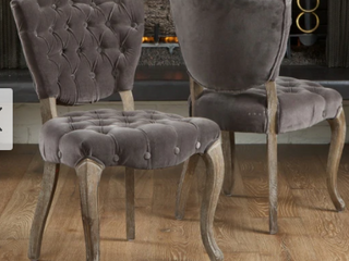 Bates Tufted Grey Fabric Dining Chairs  Set of 2  Retail 316 49