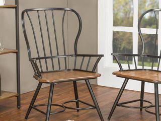 Set of 2 longford Metal Vintage Industrial Dining Armchairs Dark Black   Baxton Studio