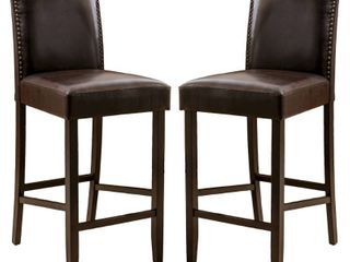 logan 31 inch Bonded leather Backed Barstool  Set of 2  by Christopher Knight Home  Retail 266 99