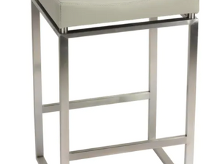 Cortesi Home Isis Brushed Stainless Steel and Faux leather Counter height Stool  Retail 141 49