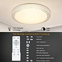 lED Ceiling light  OOWOlF 40W 15 4 Inch 3000 6000k Dimmable lED Fixture lamp Brightness Adjustable Ceiling light with Remote for Bedroom  Kitchen  living Room  Balcony  Stairways