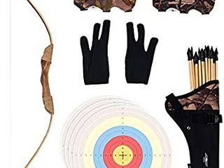 UTeCiA 30 Pcs Complete Archery Set for Kids   Beginners   Safety Rubber Tip Arrow Pack  Handcrafted Wooden Bow  Fabric Quiver  Arm Guard  Finger Glove  Target Sheets   Outdoor and Indoor Shooting Toy