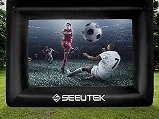 Seeutek Inflatable Outdoor Movie Projector Screen Outside Blow Up Mega Movies TV Projectors Theater Screens for Backyard with Storage Bag  20 FT  Black