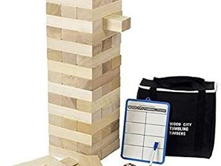 Giant Timber Tower  Stacks to 4 Feet  with Dice   Score Board  56 Pcs Gentle Monster large Size Wooden Stacking Game  Classic Outdoor Games for Adult Kids Family  Jumbo Blocks